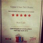 Upper Crust receives best cafe award in Cayman 2013.