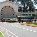 Trolley arriving in Balboa Park