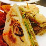 new balsamic roated veggie sandwich on house made focaccia.