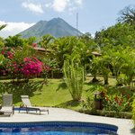 swimming pool with volcano view