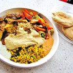 Chicken kabob rice plate w/grilled veg., cous cous, hummus, pita, sauce: cucumber & roasted pepp