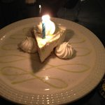 Birthday at Bogey's.  Delicious frozen Key Lime Pie with real cream.
