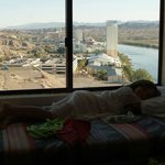 Taking a nap in our suite window