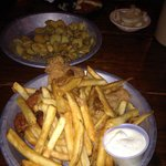 Small order of fried pickles,skillet bread, pickled onions and catfish dinner. Wow!