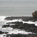 Coastline with crashing waves.