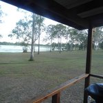 View of the lake from our cabin verandah