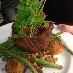 Free Range Local Eye Fillet with greens & dukkah with chat potatoes and harissa butter
