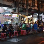Thonglor station night market a few steps from Marriott
