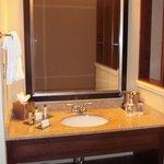 Clean bathroom with nice amenities