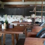 That rustic chic upper deck dining area.