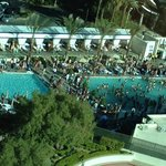 Loud daily pool party outside Tower 1