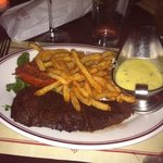 always delicious steak frites perfectly cooked med rare - ask for garlic aioli on side for frite
