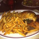 roast chicken and frites with a delicious garlic sauce at Gaslight, Boston