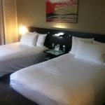 Room view with 2 very comfortable double beds with lovely soft pillows