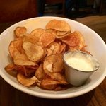 deliciously crisp housemade garlic potato chips at Granary Tavern, Boston
