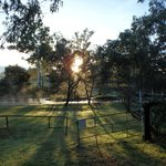 Morning Sunrise over Nettle creek from our caravan site