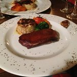 duck breast with potatoes au gratin and mashed carrots