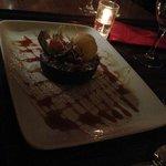 molten lava cake with vanilla ice cream