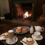 Coffee and scones by the fire