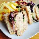 Cromer crab sandwich with chips and salad