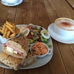 Wiltshire Roast Ham, Brie and Mango on granary with a medium cappuccino