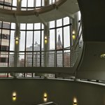 view of City Hall from the atrium