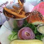 Fried grouper sandwich with french fries
