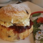 An English cream tea, with freshly baked scones and clotted cream.