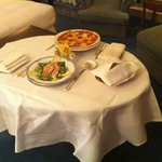 Caesar salad and pepperoni pizza