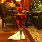 Champagne strawberry cocktail
