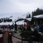 """Le Chalet de Piuerres"" view.  It's the restaurant on the slopes but linked to the hotel"
