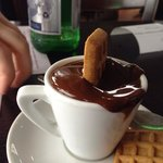Ellipse chocolate shot - so thick the biscuit can stand in it!