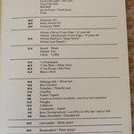 Mini bar menu