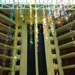 beautiful garden atrium with glass elevators