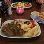 Mixed Grill - half rack of ribs with JD sauce, 8oz rump steak, 3 giant prawns, twice cooked chip
