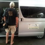 Boarding our bus for private day tour to Ocho Rios