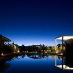 One of Explora Atacama`s four swimming pools at night