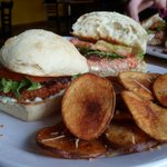 Salmon Burger with Homemade Chips....