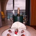 Chocolate-dipped strawberries and Champagne