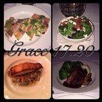 Excellent Dinner! Salmon Flatbread, Spinach And Cranberry Half Salad, Citrus Glazed Salmon, 18oz