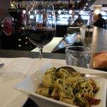 Pesto pasta from the deli and mediocre red wine