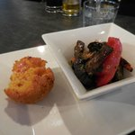 Sicilian rice ball and grilled vegetables from the deli