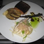 Sea bass, endive, parsnip w/ black garlic, hearts of palm pasta, crispy taro and parsnip puree