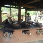 cooking over wood stove