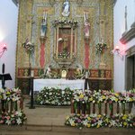 Copala church bedecked with flowers for their saint day