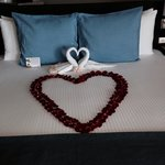 Hotel bed on arrival (15 yr anniversary)