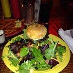 TNT Burger on a gluten-free bun with a garden salad.