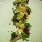 White asparagus and avocado