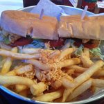 Fried Oyster Po' boy and Garlic Fries