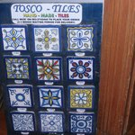 tiny example of hand painted ceramic tiles